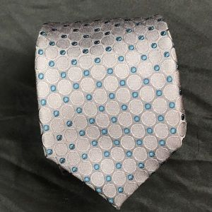 Michael Kors silver and teal circle design tie